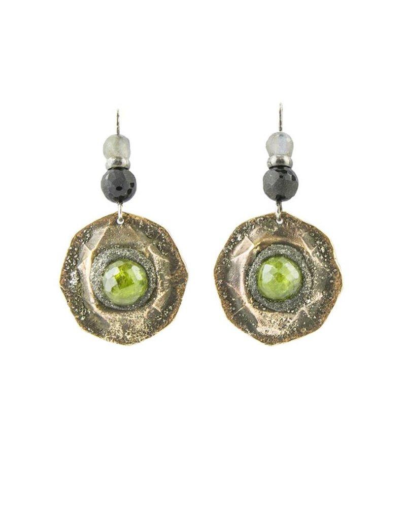 Beth Orduna Design Textured Brass Round Green Garnet Earrings