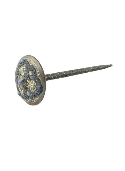 Beth Orduna Design Labradorite Brass Button Hair Stick