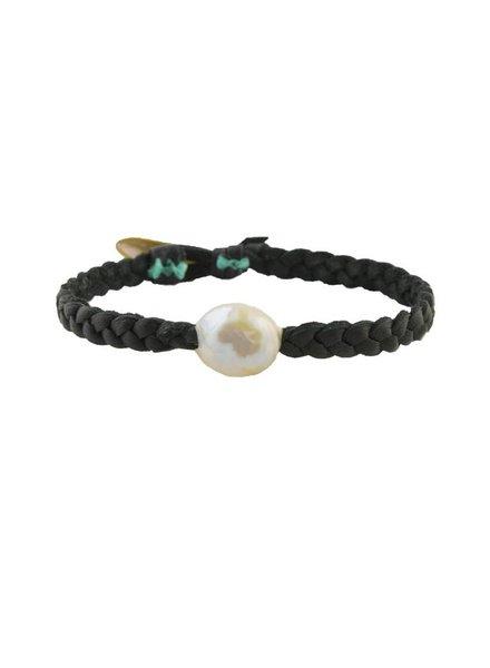 Renee Garvey Braided Leather Pearl Bracelet