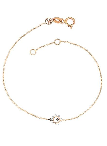 KISMET Eclectic Star Empty Circle Bracelet White and Champagne Diamonds