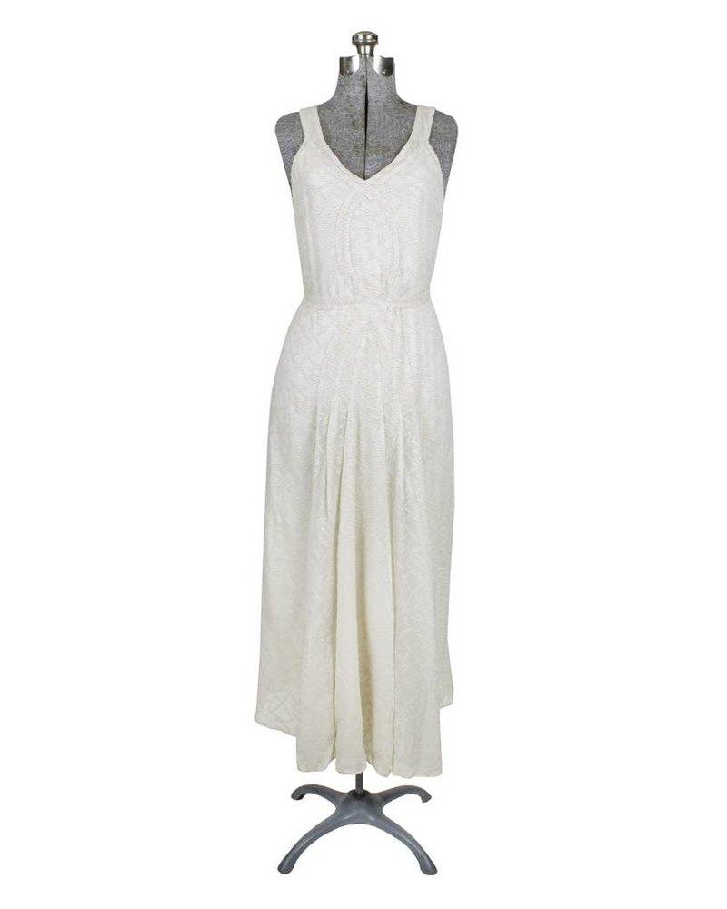 Burning Torch Shadow Silk Tank Dress Ivory