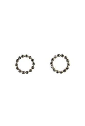 KISMET Bihter Black Diamond Open Circle Earrings