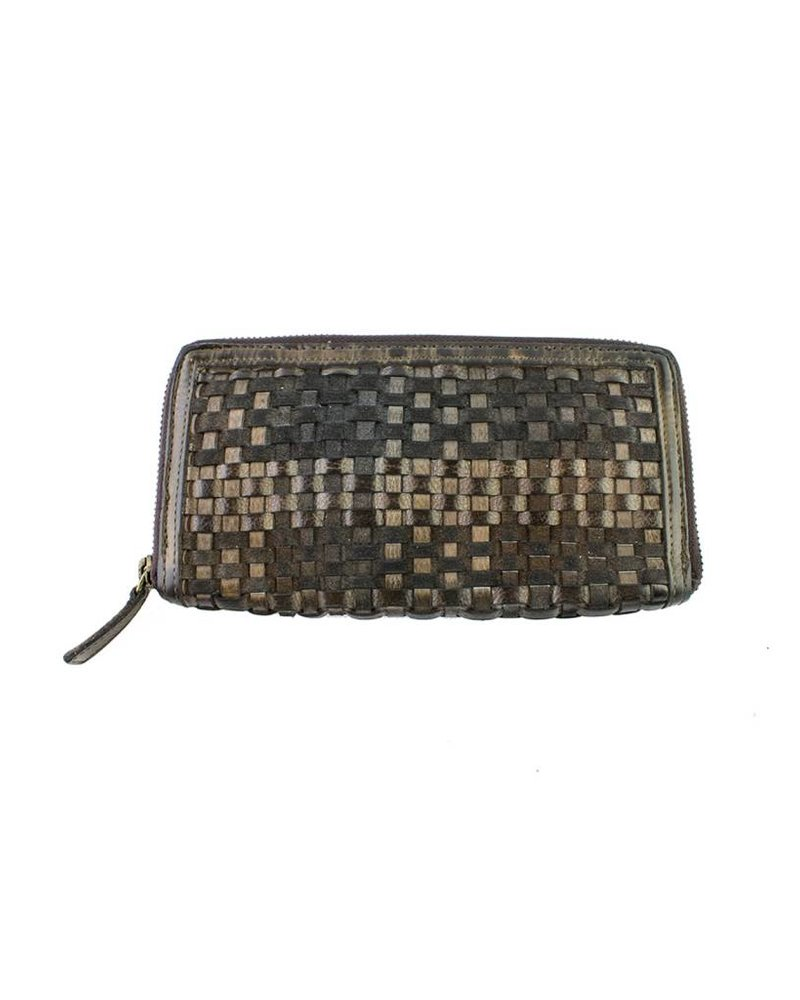 Majo Textured Leather Wallet Chocolate
