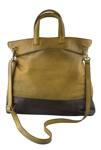 Majo Colorblock Line Textured Tote Chestnut/Brown