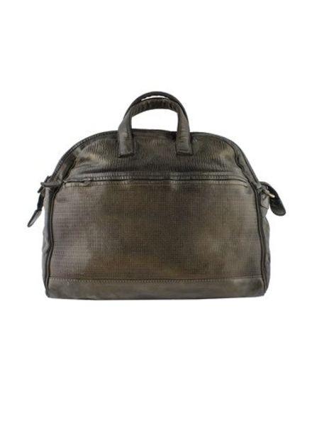 Majo Dot Textured Leather Doctor Bag Chocolate