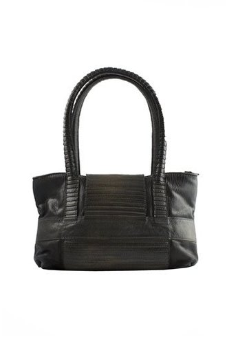Majo Clasp Front Textured Leather Shoulder Bag Chocolate