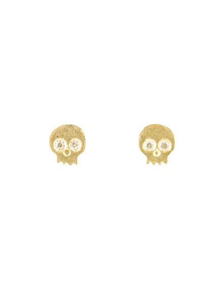 Victoria Cunningham 14k Diamond Skull Earrings