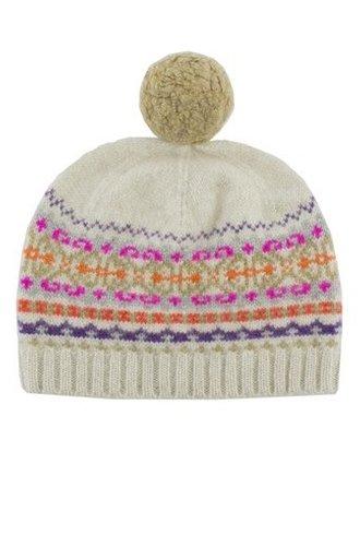 New Scotland Fairisle Pompom Hat Oatmeal
