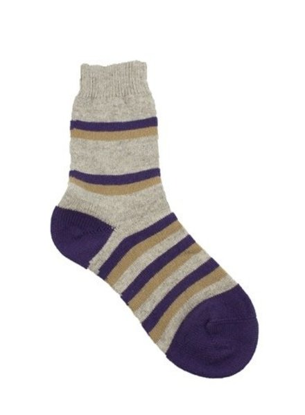 Pantherella Selma Wool Stripe Socks Stone/Purple