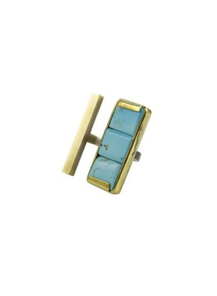 Beth Orduna Design Turquoise and Brass Open Front Ring