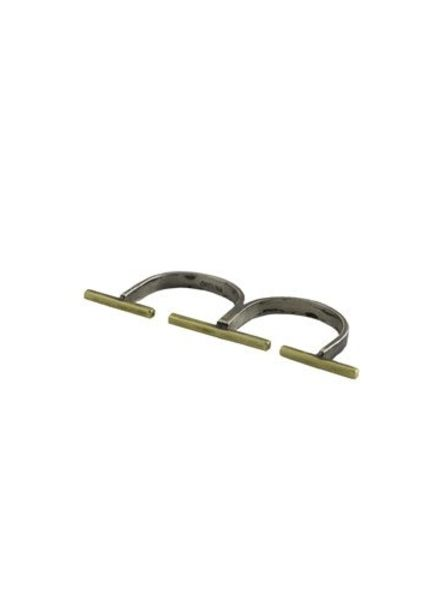 Beth Orduna Design Brass Bar Double Finger Ring