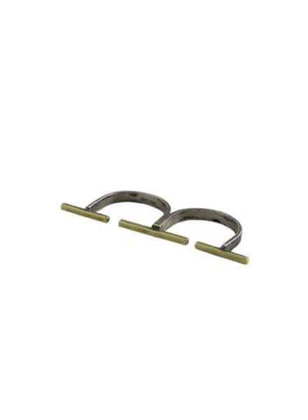Beth Orduna Design Brass Bar Double Finger Ring