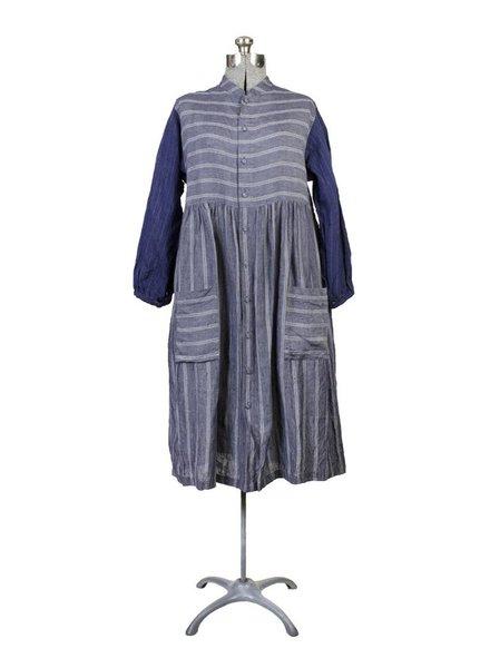 Vlas Blomme Classic Stripe Panel Shirtdress Grey