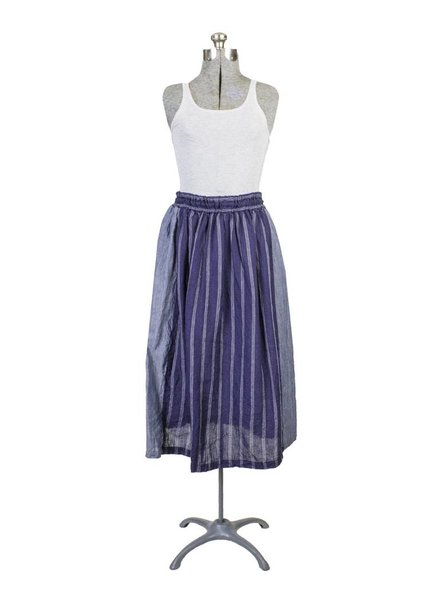 Vlas Blomme Classic Stripe Colorblock Skirt Dark Navy
