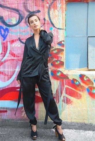 Raquel Allegra Black Wrap Tie Blazer