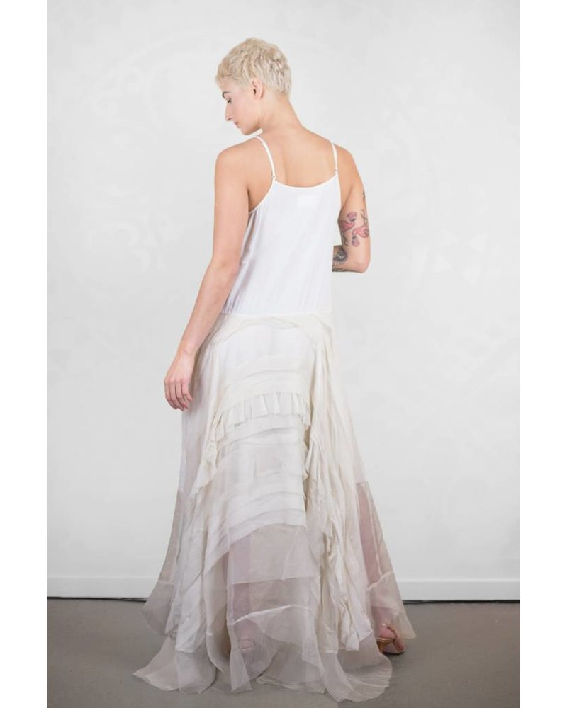 Gary Graham Ruffled Organza Crinoline Dress Antique