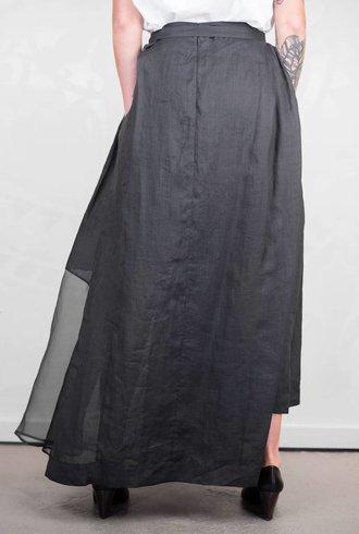 Gary Graham Abstract Vintage Long Apron Skirt Black
