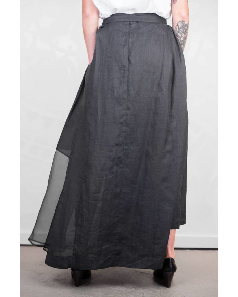 Gary Graham Abstract Vintage Long Apron Skirt Black