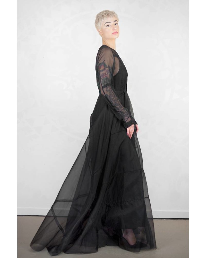 Gary Graham Patched Organza Maxi Dress Black