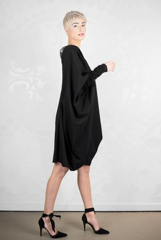 Gary Graham Poly Crepe Bat Dress Black