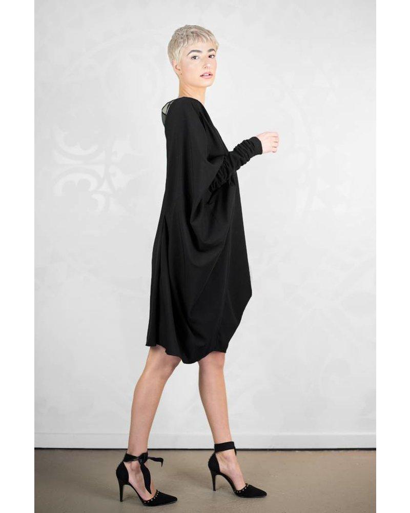 Gary Graham Poly Crepe Bat Dress Black