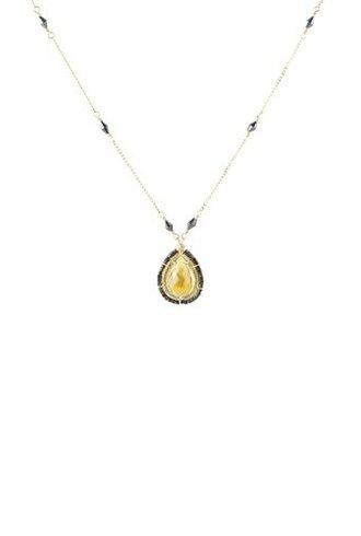 Dana Kellin Fashion Whiskey Quartz and Black Spinel Necklace