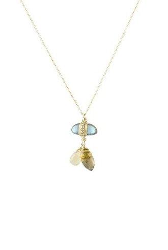 Dana Kellin Fashion Labradorite and Smoke Quartz Necklace
