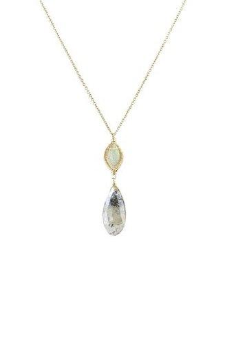 Dana Kellin Fashion Labradorite and Rutilated Quartz Necklace
