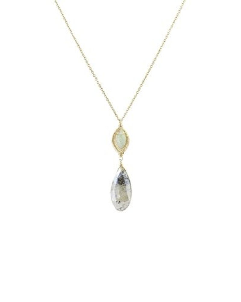 Dana Kellin Fashion Labradorite and Rutilated Quartz Necklace