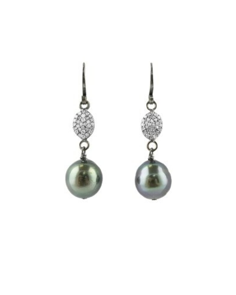 Dana Kellin Fine Pave Diamond and Tahitian Pearl Earrings