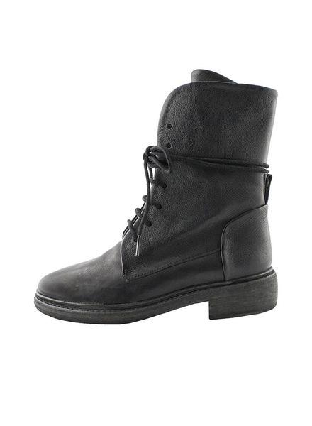P. Monjo Clos Lace Up Combat Boot Black
