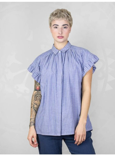 Trovata Marianne Ruffle Shirt Navy & White Stripe