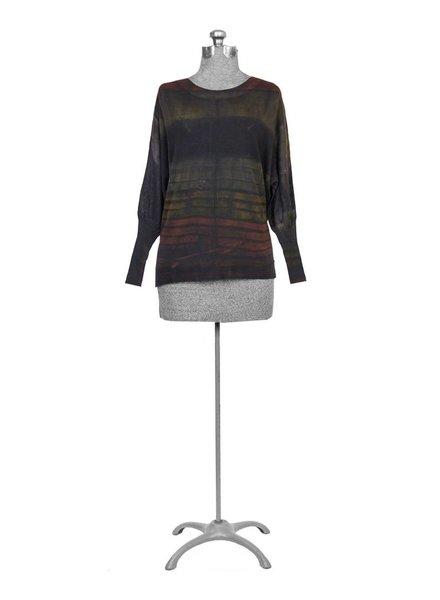 MA+CH Poncho Pullover Stripes Mud