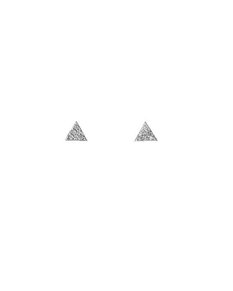 KISMET White Diamond Triangle Earrings
