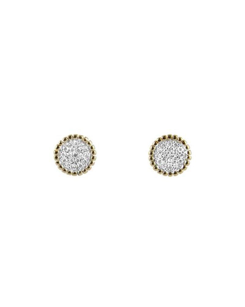 KISMET Beaded White Diamond Circle Earrings