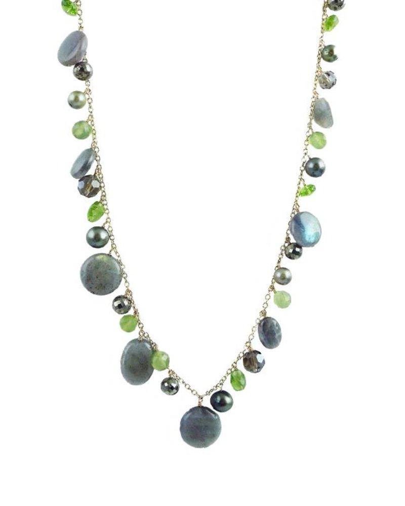 Dana Kellin Fashion Olive Mix Labradorite Dangle Necklace