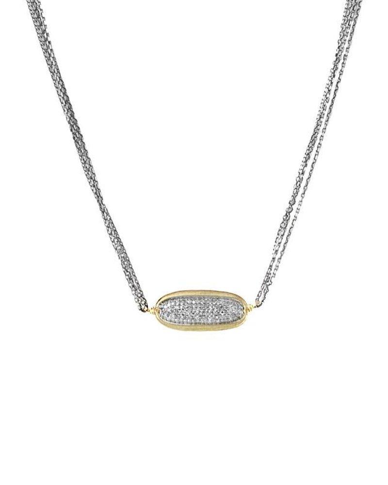Dana Kellin Fine 14k Pave Diamond Oval Necklace