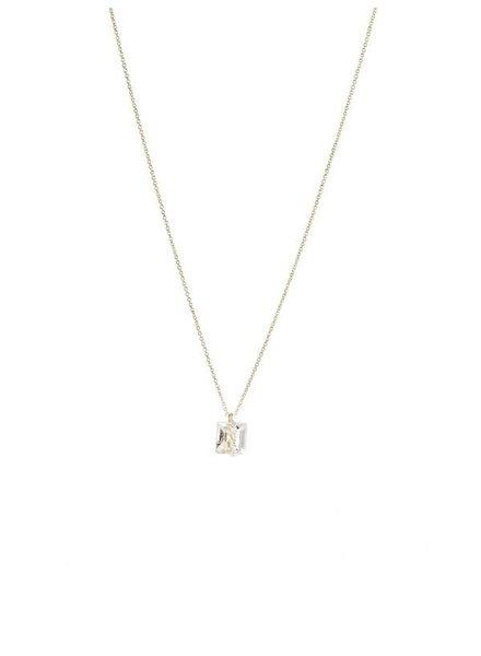 Dana Kellin Fine 14k White Topaz and Diamond Necklace
