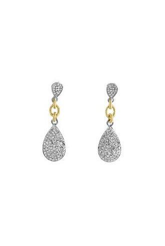 Dana Kellin Fine 14k Pave Diamond Linked Teardrop Earrings