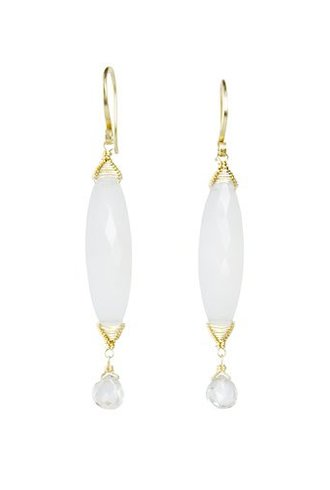 Dana Kellin Fine 14k Grey Chalcedony and Zircon Drop Earrings