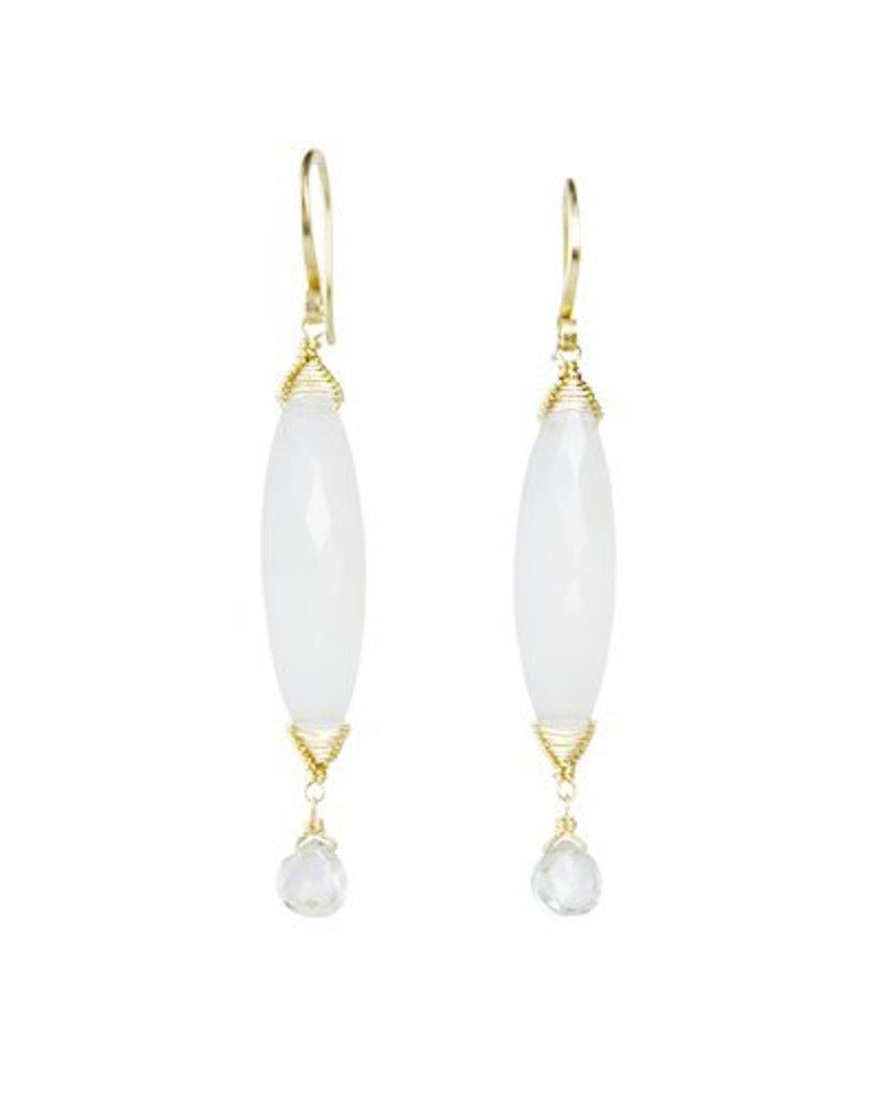 Dana Kellin Fine 14k Grey Chalcedony and Zircon Drop Earrings