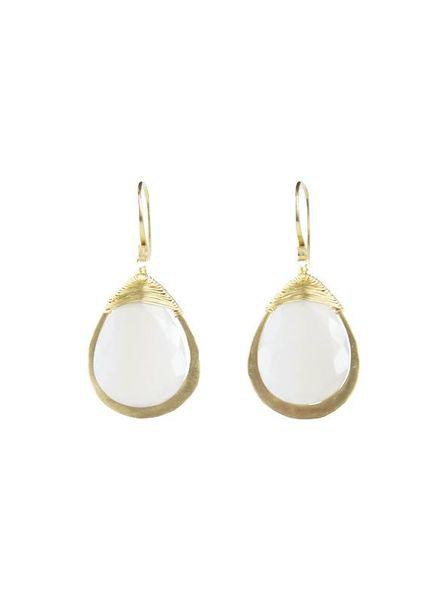 Dana Kellin Fine 14k Framed Grey Chalcedony Earrings