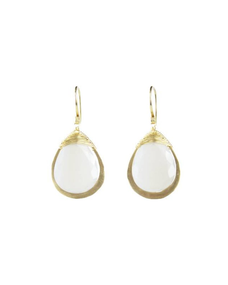 Dana Kellin Fine 14k Framed Grey Chalcedony Earrings