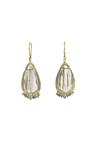 Dana Kellin Fine 14k Brown Rutilated Quartz and Diamond Earrings