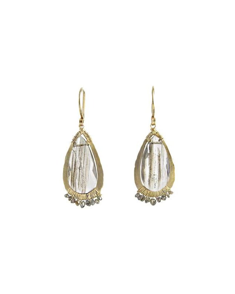 Dana Kellin Fine 14k Brown Rutilated Quartz and Diamond Earrings