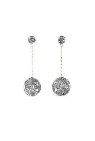 Beth Orduna Design Textured Silver Double Coin Earrings