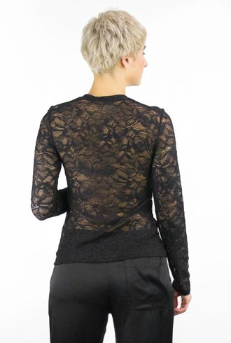 Raquel Allegra Long Sleeve Lace Tee Black
