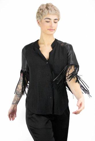 Raquel Allegra Leather Fringe Button Up Black