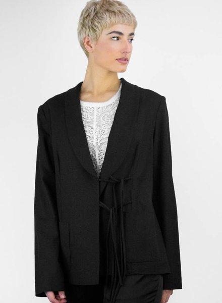 Raquel Allegra Silk Noil Double Tie Blazer Black