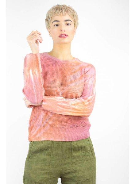 Raquel Allegra Tie Dye Shred Raglan Mesh Pullover Blood Orange